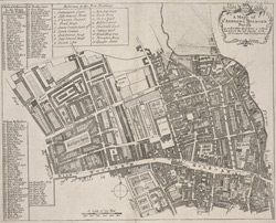 A mapp of St. Andrews Holborn parish as well within the Liberty as without (1720)